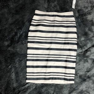 J. Crew Ivory Black Stripe Straight Skirt NWT Sz 0